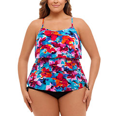 St. John's Bay Pretty Pleats Triple Tier Tankini or Adjustable Side Brief-Plus