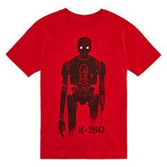 Short Sleeve Crew Neck Star Wars T-Shirt-Big Kid Boys
