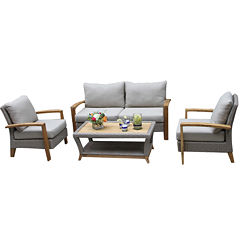 Outdoor Interiors 4pc Natural Teak and Wicker Loveseat set