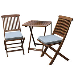 Outdoor Interiors 3pc. Square Bistro Set with GreyCushions