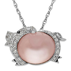 Genuine White Quartz and Lab-Created White Sapphire Pig Pendant Necklace