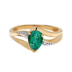 Lab-Created Emerald and Diamond-Accent 10K Yellow Gold Ring