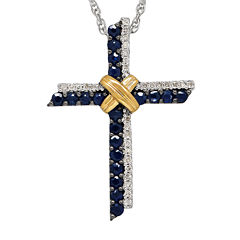 Genuine Blue Sapphire and 1/10 CT. T.W. Diamond Cross Pendant Necklace