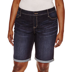 St. John's Bay Denim Bermuda Shorts-Plus