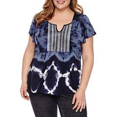 Unity World Wear Short Sleeve Scoop Neck Tie Dye T-Shirt-Womens Plus