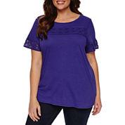 Liz Claiborne Short Sleeve Crew Neck T-Shirt-Plus