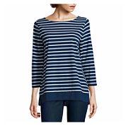 St. John's Bay 3/4 Sleeve Boat Neck T-Shirt-Talls