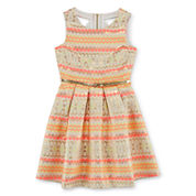 Trixxi® Girl Sleeveless Metallic-Accent Skater Dress - Girls 7-16