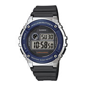 Casio® Illuminator Mens Blue Bezel Black Resin Strap Digital Watch W216H-2AV
