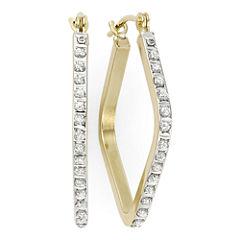 Diamond Fascination™ 14K Yellow Gold Geometric Hoop Earrings