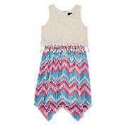 Disorderly Kids® Sleeveless Lace Popover Chevron Sharkbite Dress – Girls 7-16