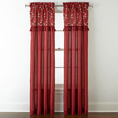 Royal Velvet® Encore Leaf Embroidery Rod-Pocket Curtain Panel
