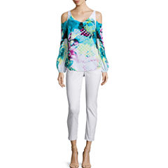 Worthington® Cold Shoulder Blouse or Slim-Fit Ankle Pants - Petite