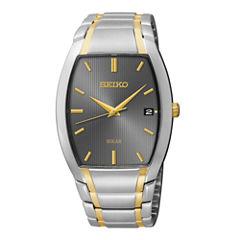 Seiko® Mens Two-Tone Stainless Steel Solar Watch SNE334