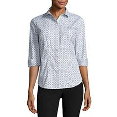 Worthington® Elbow Sleeve Button-Front Oxford Shirt - Petite