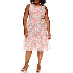 R & K Originals Sleeveless Tie Waist Floral Fit & Flare Dress-Plus