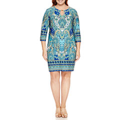 Tiana B 3/4 Sleeve Sheath Dress-Plus