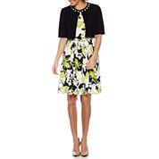 Perceptions 3/4 Sleeve Embellished Jacket Dress-Petites
