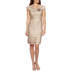 London Times Shutter Pleat Sheath Dress