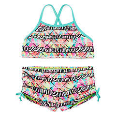 Breaking Waves Girls Zebra Tankini Set - Big Kid
