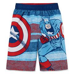 Boys Captain America Swim Trunks-Toddler