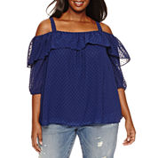 Boutique + 3/4 Sleeve Scoop Neck Blouse-Plus