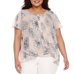 Alyx Short Sleeve Floral Woven Blouse-Plus
