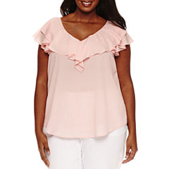 Bisou Bisou Short Flutter Sleeve V Neck Woven Blouse-Plus