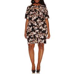 Boutique + Elbow Sleeve Bodycon Dress-Plus