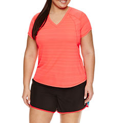 Xersion™ Short Sleeve V Neck T-Shirt-Plus