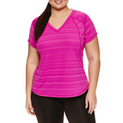 Xersion Short Sleeve V Neck T-Shirt-Plus