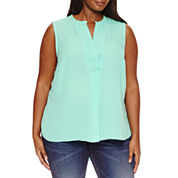 a.n.a Sleeveless V Neck Woven Blouse-Plus