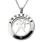 Zodiac Cubic Zirconia Stainless Steel Locket Pendant Necklace
