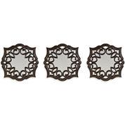 Set of 3 Bronze Curl Mirrors