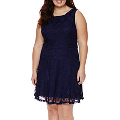 Speechless® Sleeveless Lace Fit-and-Flare Dress - Juniors Plus
