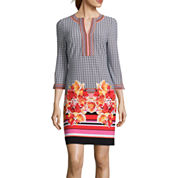 Trulli 3/4-Sleeve Medallion-Print Shift Dress