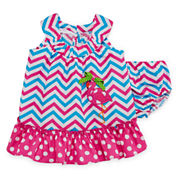 Bonnie Jean® Sleeveless Pink Chevron Sundress - Baby Girls newborn-24m