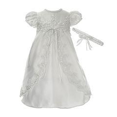 Keepsake® Short-Sleeve Christening Dress and Headbamd - Baby Girls newborn-12m