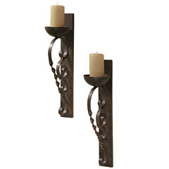 Set of 2 Twisted Pillar Wall Sconces