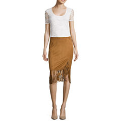 i jeans by Buffalo Short-Sleeve Crochet Tee and Faux-Suede Wrap Skirt