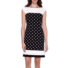 Studio 1® Sleeveless Polka Dot Sheath Dress - Petite