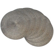 Design Imports Woven Metallic Set of 6 Round Placemats
