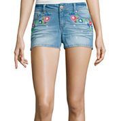 Blue Spice Floral-Embroidered Denim Shorts
