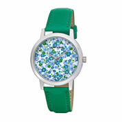 Laura Ashley Womens Floral Print Dial Green Strap Watch-LA31022GR