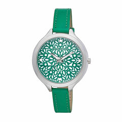 Laura Ashley Geo Print Dial Womens Green Strap Watch-LA31023GN
