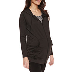 Planet Motherhood Long Sleeve Knit Hoodie-Maternity