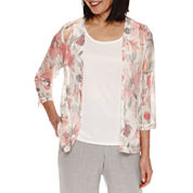 Alfred Dunner Rose Hill 3/4 Sleeve Layered Top
