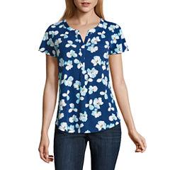 Liz Claiborne® Flutter-Sleeve Floral Knit Top - Misses