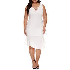 Bisou Bisou Sleeveless Lace Up Textured Sheath Dress-Plus