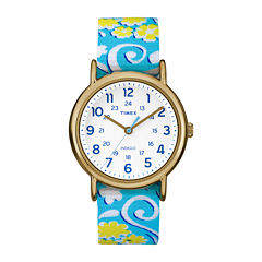 Timex® Womens Weekender Blue and White Floral Strap Watch